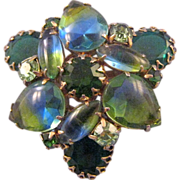 REDUCED Blue and Green Givre Rhinestone Double Trefoil Brooch