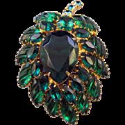 REDUCED Stylized Green Rhinestone Leaf with Diagonal 'Cut' Specialty Navettes
