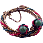 Miriam Haskell Red Green and Goldtone Hinged Bracelet and Earrings