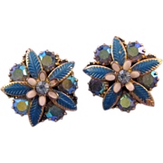REDUCED Weiss AB Rhinestone and Blue Enamel Flower Earrings