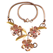 Two Tone Articulated Metal and Rhinestone Flower Necklace - Classic and Sinuous