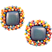 Blue Wooden Earrings Ringed in Multicolored Wooden Beads