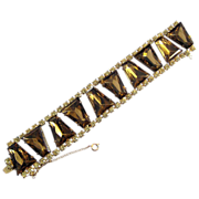REDUCED Wide Rhinestone Bracelet with Bronze Keystone Shape Stones