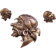 REDUCED Unsigned Marleen Sterling Pirate's Head Brooch and Screw Back Earrings - Design Patent