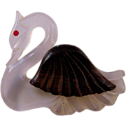 REDUCED Lucite and Wood 1940s Swan Figural Brooch