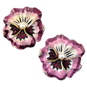 REDUCED A Duo of Unsigned Kramer Enameled Pansy Brooches - Pinks and Purples