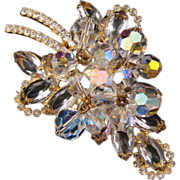 REDUCED D&E aka Juliana Goldtone Stylized Leaf Pin in Clear Navettes with Crystal AB ...
