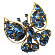 REDUCED Blue Rhinestone Trembler Butterfly Pin