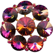REDUCED Weiss Purple-Pink Rivoli Stone Pin
