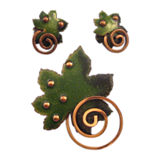 Matisse 1950s 'Leaf' Green Enameled Copper Pin and Earring Set