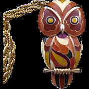 Eisenberg 1970s 'Artist's Series' Enameled Owl Pendant