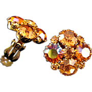 REDUCED Weiss Glittering AB Coated Amber Color Rhinestone Earrings