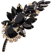 REDUCED D and E aka 'Juliana' Black and Clear Feather Brooch