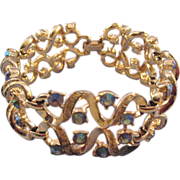 REDUCED Coro Goldtone Curlique Bracelet with Blue AB Rhinestones