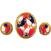 REDUCED Red White and Blue Rhinestone Brooch and Earrings - July 4th Fun