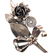 REDUCED Hobe Sterling Intricate Rose Bouquet Brooch - 1942 Design Patent