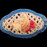 REDUCED Celluloid Scottie Dog Brooch - Japan - Basket Weave Frame Background
