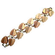 REDUCED 1950s Coro Thermoplastic Molded Leaf Bracelet in Shades of Beige
