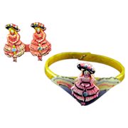 REDUCED Celluloid Child's Painted Bracelet and Pin - Girl in a Long Dress and Fancy Hat