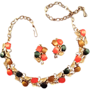 REDUCED Mid-Century Moonglow Thermoplastic Necklace and Earrings in Autumn Tones