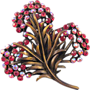 REDUCED Karu Antiqued Goldtone Red Rhinestone Feathery Flower Brooch