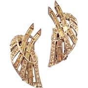 REDUCED Rhodium Plated Stylized Leaf Rhinestone Earrings - Rounds and Baguettes