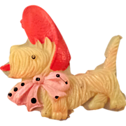 REDUCED Celluloid Scottie Dog in a Red and Pink Bonnet - Occupied Japan