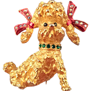 REDUCED Mylu Goldtone Poodle Brooch with Red Bow Tied Ears
