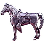 REDUCED Vintage Sterling Silver Saddled Horse Brooch - Finely Detailed