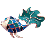 REDUCED Vintage Blue and Green Enameled 'Harlequin' Trifari Fish Brooch - 1970s