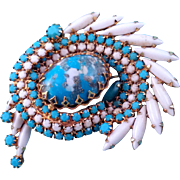 REDUCED Confirmed Delizza and Elster aka Juliana Blue and White Rhinestone 'Cyclone' Swirl Pin