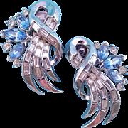 REDUCED Vintage Trifari Silvertone Rhinestone Swirl Earrings