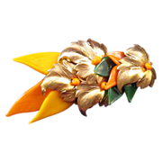 REDUCED Miriam Haskell Glass and Gilded Metal Leaf Pin - Green and Orange