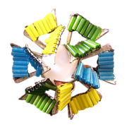 REDUCED Miriam Haskell Blue Green and Yellow Tube Bead Pinwheel Brooch
