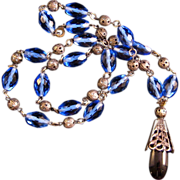 REDUCED Art Deco Blue Glass Bead necklace with Cobalt Blue Pendant
