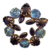 REDUCED Cobalt Blue and Molded Iridescent Glass Rose Cabochon Circle Pin
