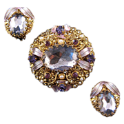 REDUCED West Germany Goldtone Filigree and Enamel Faux Amethyst Brooch and Earrings Set