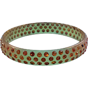 REDUCED Vintage Apple Juice Celluloid Bangle Bracelet with Topaz Colored Rhinestones