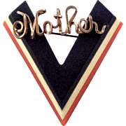 REDUCED V for Victory WWII Sweetheart 'Mother' Red White and Blue Collectible Brooch