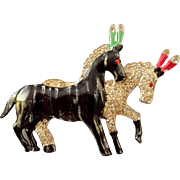 REDUCED 1940s Enamel and Rhinestone Figural Circus Horses Brooch