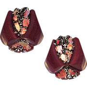 REDUCED Moonglow Plastic Earrings in Warm Bronze Tones with MOP and Glitter