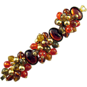 REDUCED Vintage Goldtone Cabochon and Faceted Dangle Bead Clusters Bracelet - Book Reference