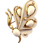 REDUCED Trifari 1969 White Butterfly Pin - Ad Reference