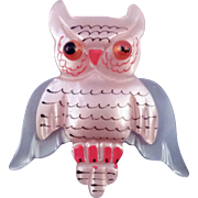 Vintage Moonglow Plastic Owl Brooch - Pastel Pink and Blue
