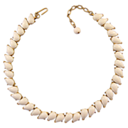 REDUCED Trifari 1960s White and Goldtone Adjustable Choker Necklace