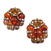 REDUCED Hobe' Amber-Toned Beaded Earrings with Rhinestone Rondells
