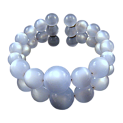 REDUCED Baby Blue 'Moonglow' Memory Wire Double-Wide Bracelet