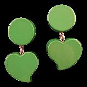 Enameled Wooden Green Heart Dangle Earrings