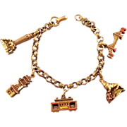 REDUCED Coro Goldtone San Francisco Charm Bracelet with Enameled Charms