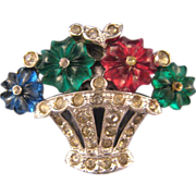 REDUCED Trifari 'KTF' Pave' Fruit Basket Dress Clip with Three Color 'Fruit Salad' Flowers